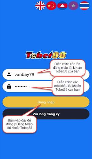 Đăng nhập TOBET88 bằng ứng dụng