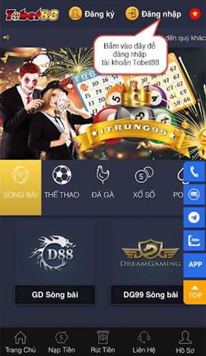 Đăng nhập website TOBET88 bằng điện thoại